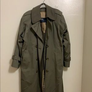 Classic Army Green Burberry Trench Coat